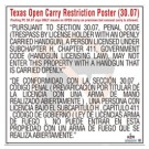 Texas Open Carry Of Handgun (Prohibited in Business) - English & Spanish